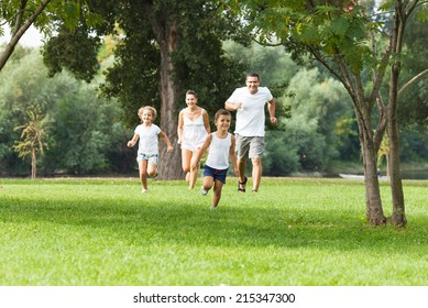 Family is having fun in a nature