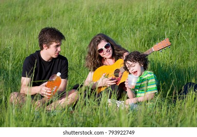 Family having fun on a picnic in the countryside