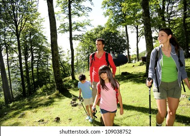 Family having fun on a trekking day