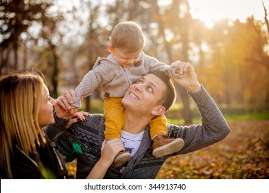 family having fun in a park