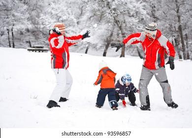 Family having fun in snow