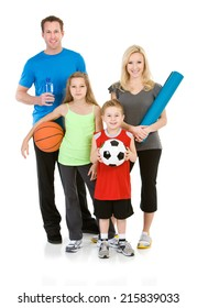 Family: Healthy Family All Holding Favorite Workout Equipment