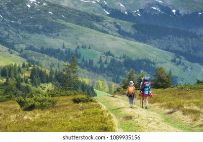 Family of hikers on a trekking in a mountain valley. Mother with baby in a carrying for children. Travel and family concept.