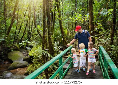 Family hiking in jungle. Father and kids on a hike in tropical rainforest. Dad and children walk in exotic forest. Travel with child. Borneo jungle and mountains. Boy and girl explore nature in Asia.