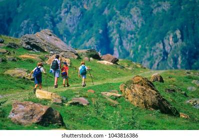 Family hiking in Ariège, Pyrenees, France