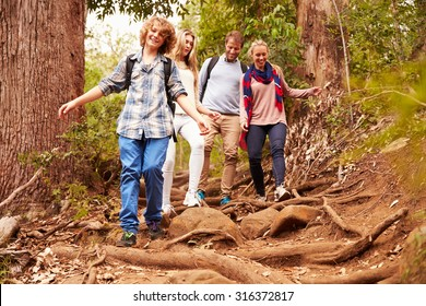 Family hiking through a forest