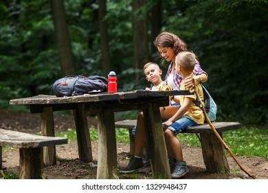 Family hiking,Lunch break.