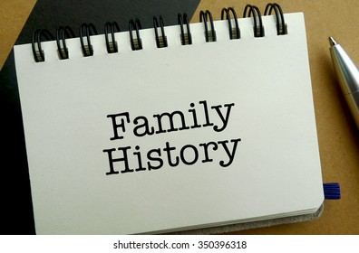 Family history memo written on a notebook with pen