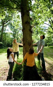 Family holding hands around tree in countryside loving nature