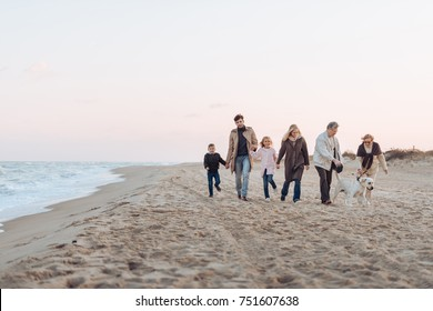 family holding hands and walking with dog at seaside