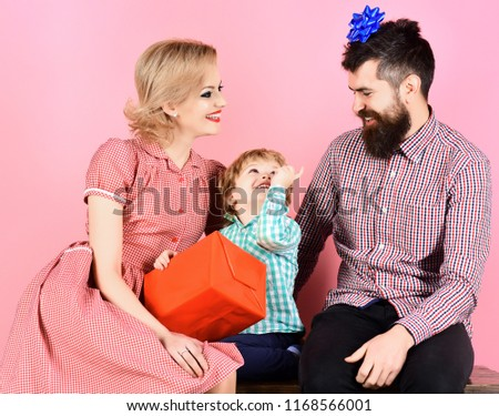 Father Mother And Child Celebrating Birthday Gift With Love People