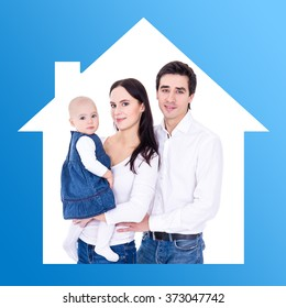 family and home concept - happy young parents with little daughter in blue house frame