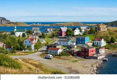 Family homes and a lighthouse in Trinity, Newfoundland