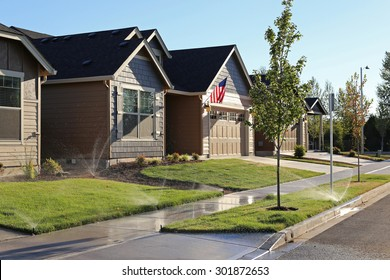 Family homes in suburban neighborhood