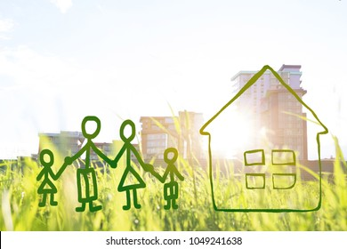 family and house. happy family concept. eco friendly concept
