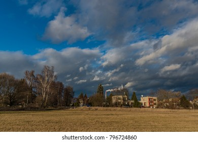 Family houses in Ceske Budejovice city in wind winter day