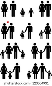 Family icons of man, woman, boy and girl in black and white graphic style.