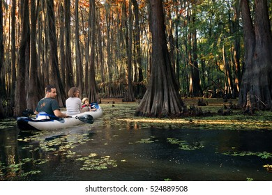 Family in an inflatable boat floats among the cypresses. Caddo Lake State Park, Texas, United States