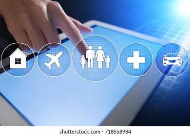 Family insurance concept on virtual screen.