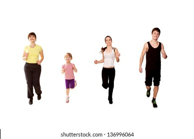 Family jogging. Mother and three children, a little girl, and two teenagers, a boy and a girl running, fitness workout. Isolated on white background