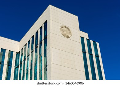 Family Justice Center Courthouse of Superior Court of California building with Great Seal of California on the side - San Jose, California, USA - July 21, 2019
