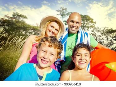 Family Kids Parents Playful Park Summer Concept