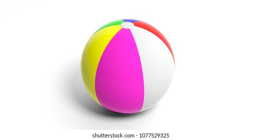 Family, kids summer vacation. Colorful beach ball isolated on white background. 3d illustration