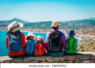 family with kids travel in Europe, Spain, looking at scenic view