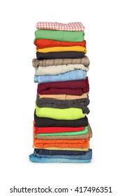 family laundry pile of clothing isolated
