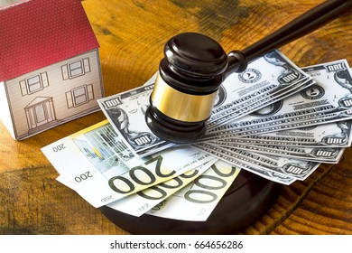 Family law concept, gavel and house, mortgage, money, investment, real estate and property concept