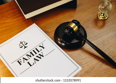 Family  Law legal documents with gavel at the side