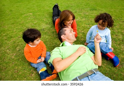 family lifestyle - portrait outdoors in a park