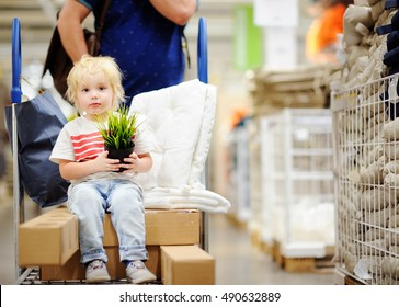 Family with little boy choosing the right furniture for their apartment in a modern home furnishings store. New home for family with kids