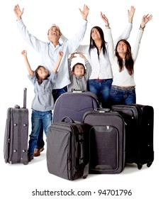 Family with luggage excited about a trip - isolated over a white background