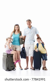 Family with luggage on white background