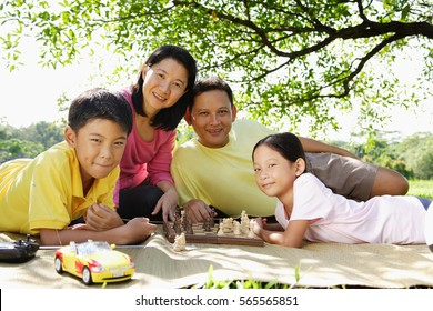 Family lying on mat in park, looking at camera