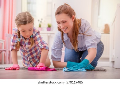 family members helping mother for clean rooms
