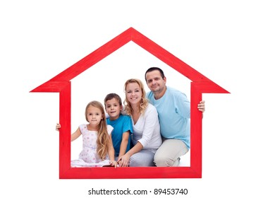 Family members in their home - real estate concept
