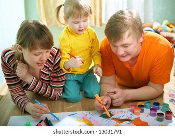 family mother father and baby draw