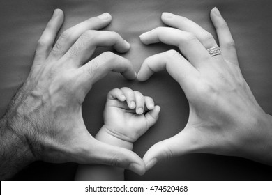 Family, mother with father holding baby hand, holding mother hand, happy memory, family tree