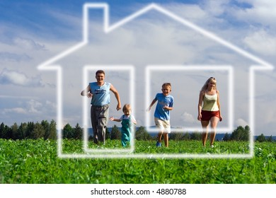 family mother father and two child run to home of dream under blue sky