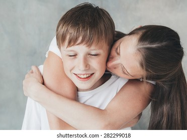 Family mother huge  son happy together love beautiful portrait
