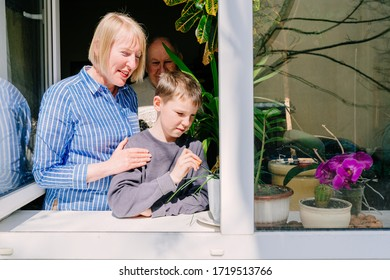 Family of mother and son together standing behind winndow full plants. Old man stands behind their. Life, family, relationship different generational concept. Family portrait near window. Stay home.