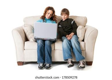 Family: Mother Teaches Son Laptop Basics