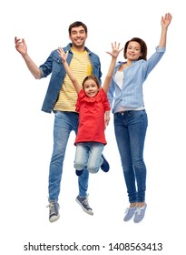 family, motion and people concept - happy smiling mother, father and little daughter jumping over white background