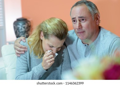 family mourning about the death of someone