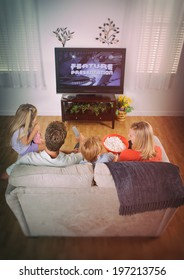 Family: Movie Night At Home With Family On Couch