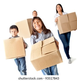 Family moving home carrying carton boxes - isolated over a white background