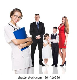 Family on medical examination with young doctor