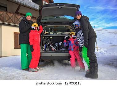 Family on the ski